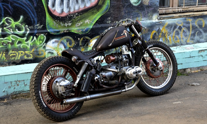 a custom cafe-racer built from Dnepr MT