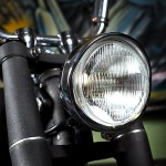 a headlight installed on a custom bobber