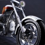 a front view on a custom chopper M72