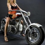 a sexy girl on a custom chopper M72