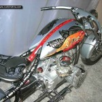a stylish gas tank installed on a custom M72 motorcycle