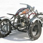 a custom M72 motorcycle with a sidecar