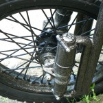 the front wheel and a custom-built fork