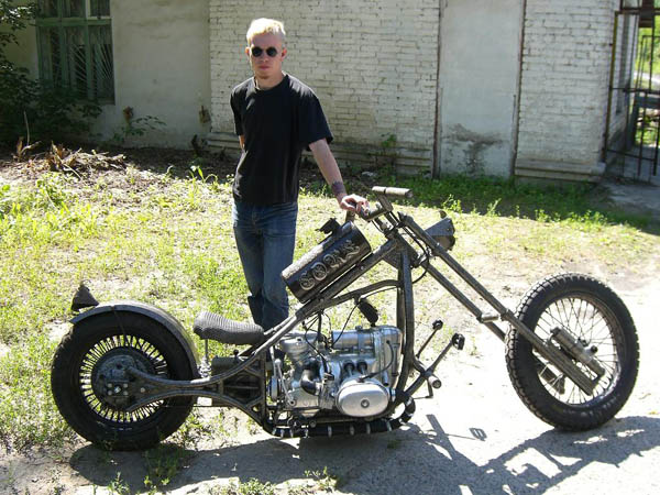 a custom Ural motorcycle with its creator