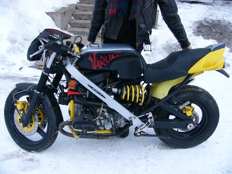 the left side of a custom sport bike built from an Ural