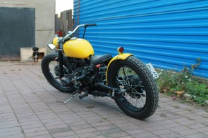 a view on the left side of the custom Ural bobber