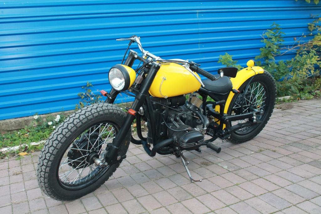 an image of a custom bobber built from an Ural