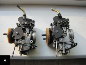two CV carburetors with adapters