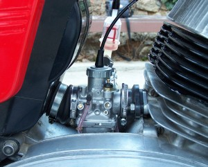 a Mikuni carb installed on a Jawa 634 motorcycle