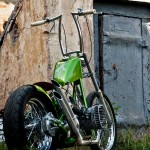 a photo of a custom bobber made from behind
