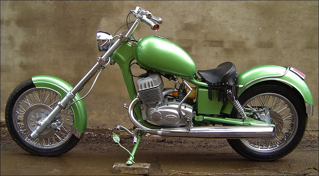 a custom chopper made from an Izh motorcycle