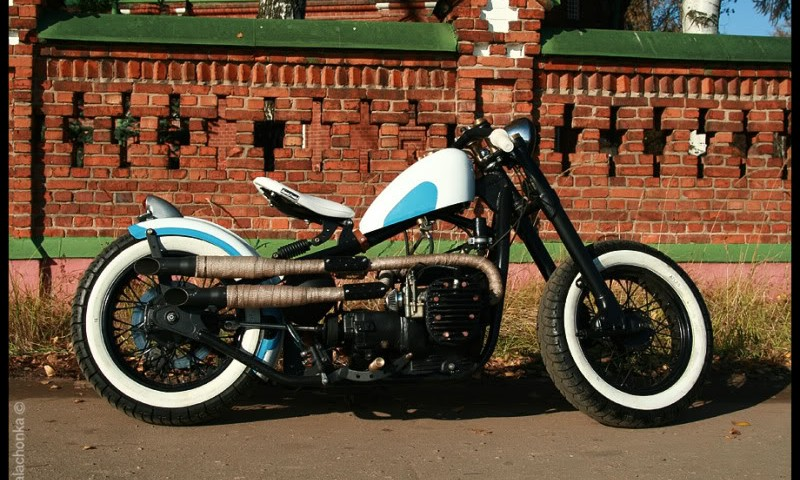 a custom bobber made from a K-750 motorcycle