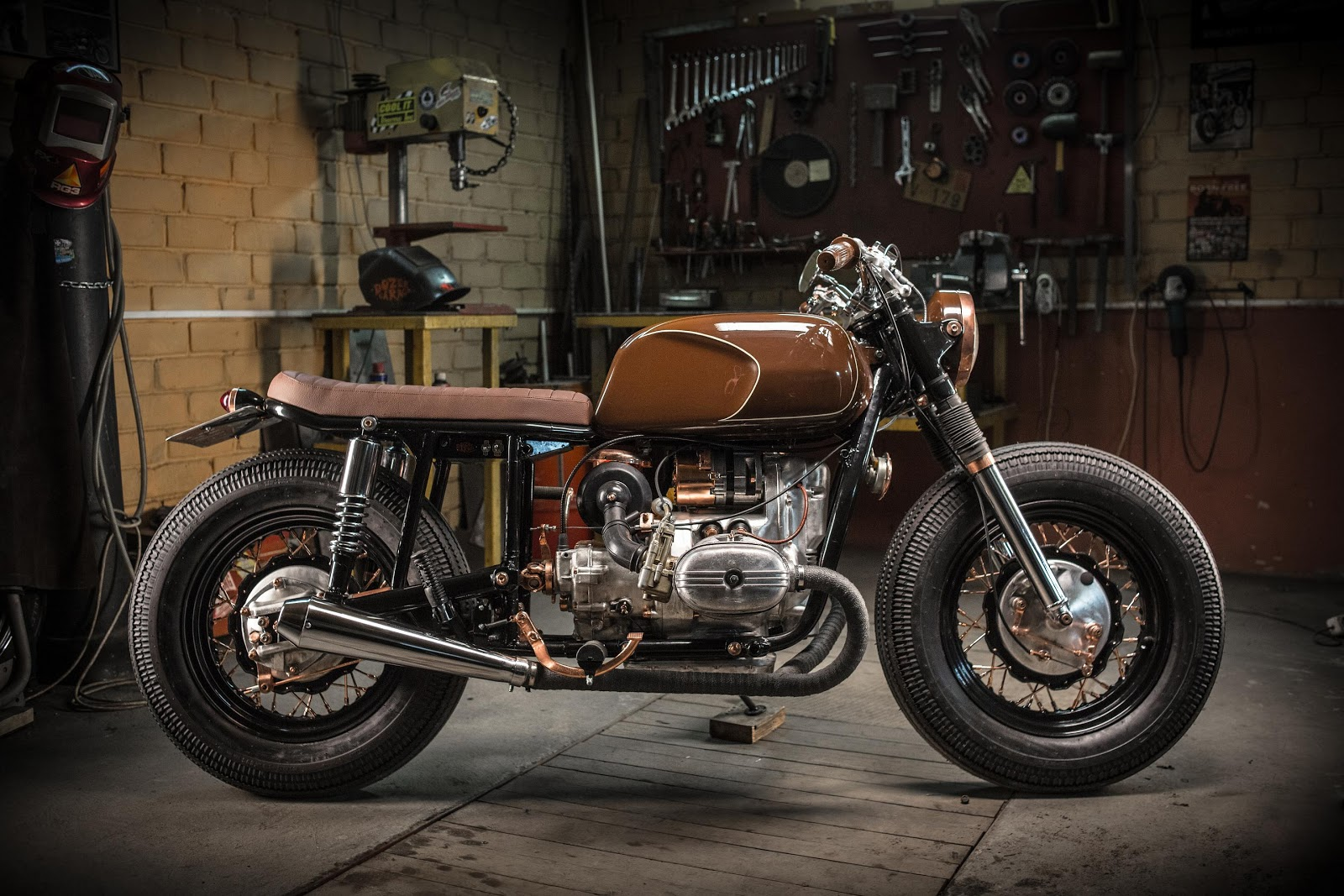a nice cafe-racer built from an Ural motorcycle