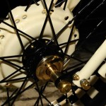 a hub of the front wheel of the Rising motorcycle