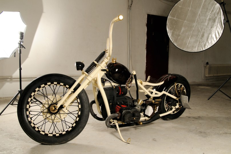 a custom bobber made from a Dnepr motorcycle