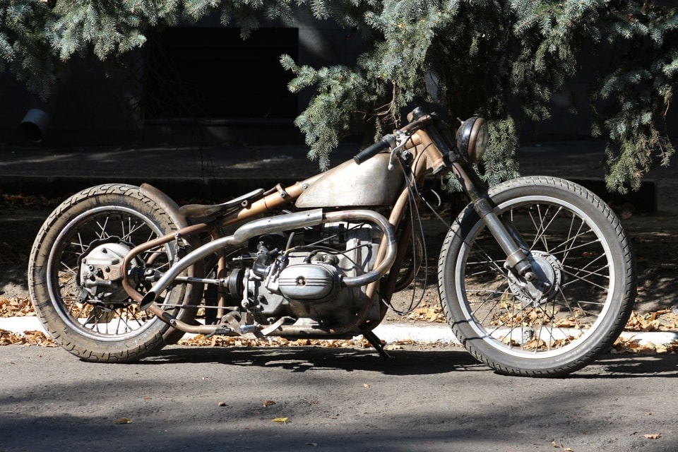 a Ural rat styled motorcycle turned into a board tracker