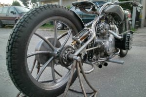 the rear wheel of the custom M-72 motorcycle