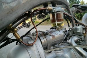 a fuel filter installed on the Bit of Freedom motorcycle
