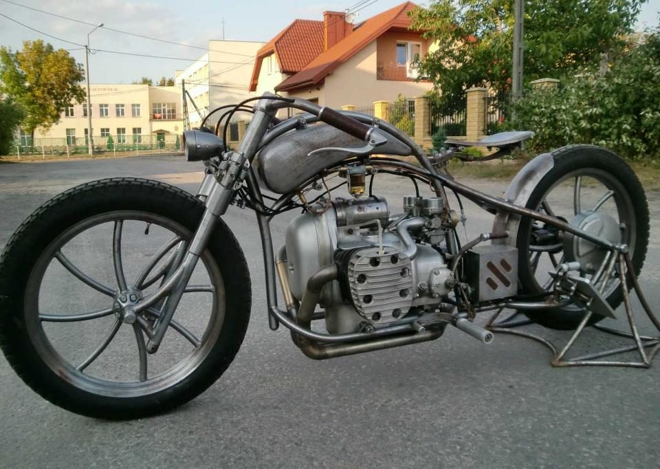 a custom M-72 motorcycle from poland
